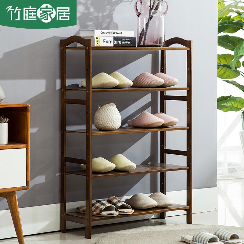 Bamboo Multi Storey Door Shoe Simple Bamboo Dark Shelves Economical Household Shoe Storage Rack Space