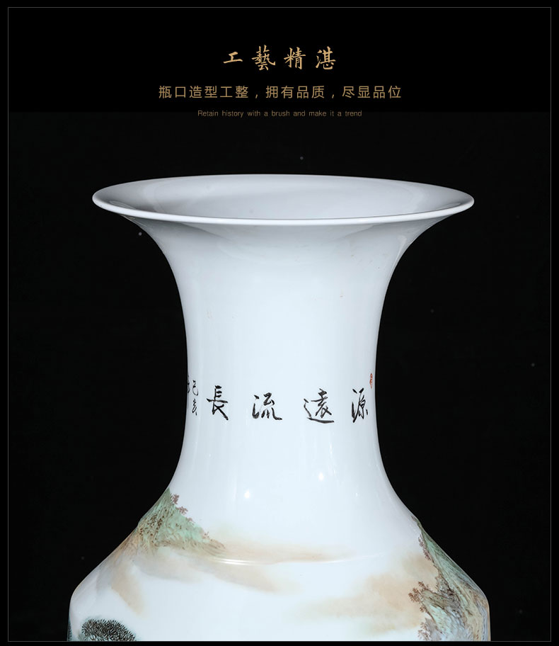 Jingdezhen ceramics by hand draw pastel big vase landing place hotel opening gifts oversized living room