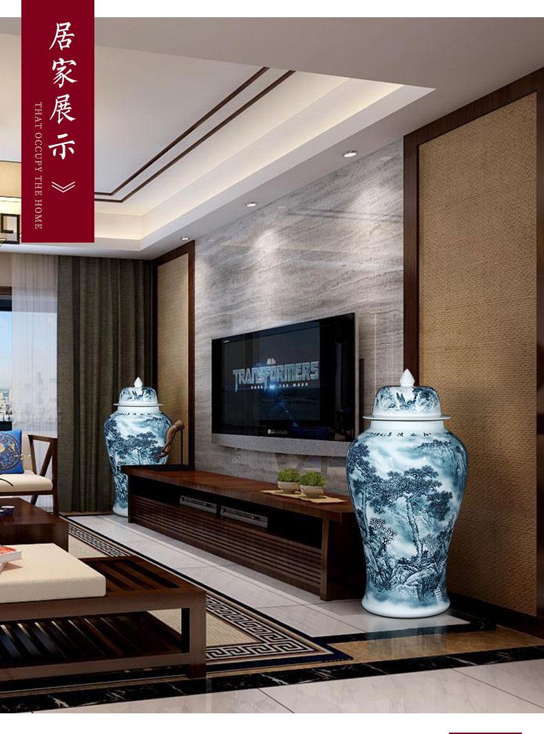 Jingdezhen ceramics hand - made color ink general oversized tank interior living room hotel furnishing articles ground decoration