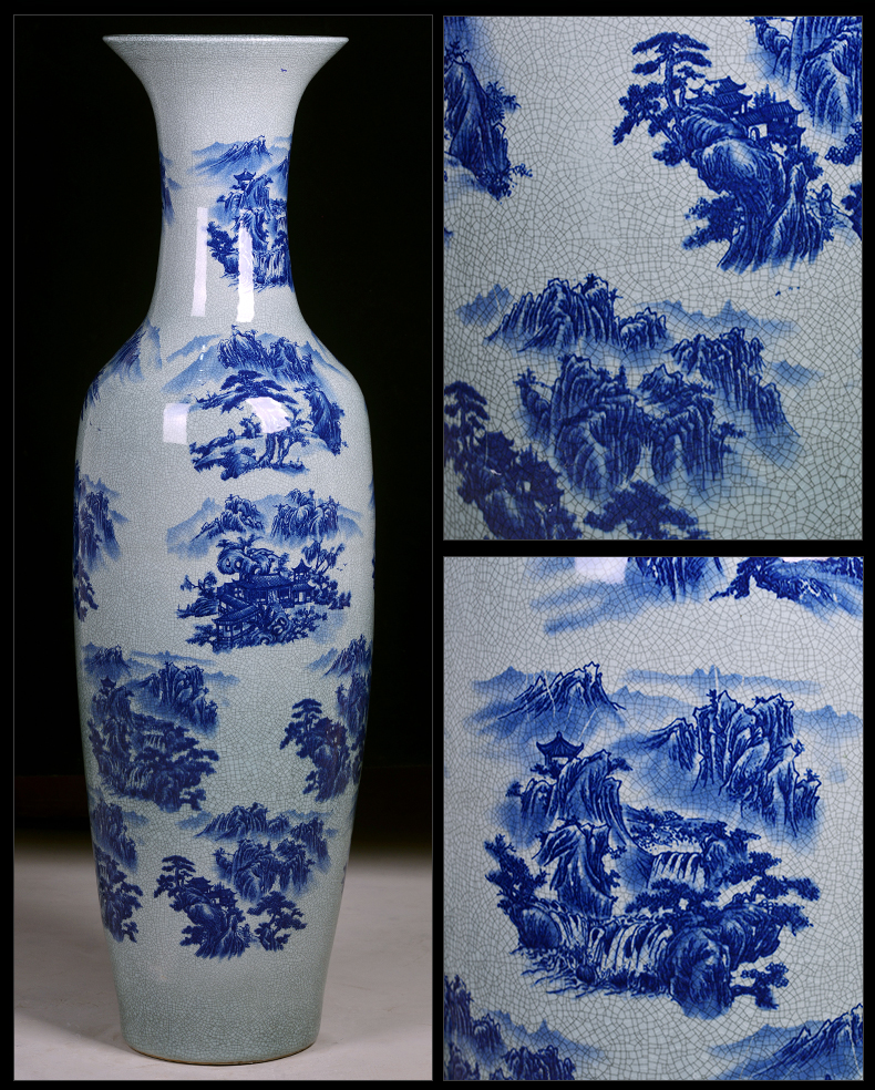 Jingdezhen ceramic archaize crack landscape of blue and white porcelain vase large hotel porch sitting room ground adornment furnishing articles