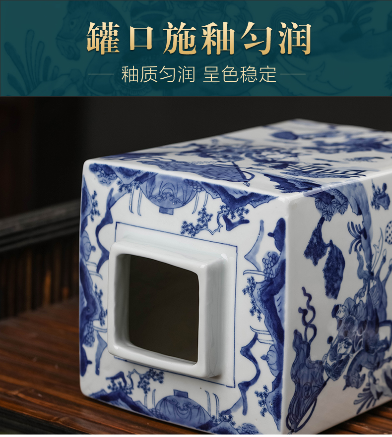 Jingdezhen ceramic quartet storage tank with cover seal caddy fixings snack jars of moisture proof household adornment furnishing articles
