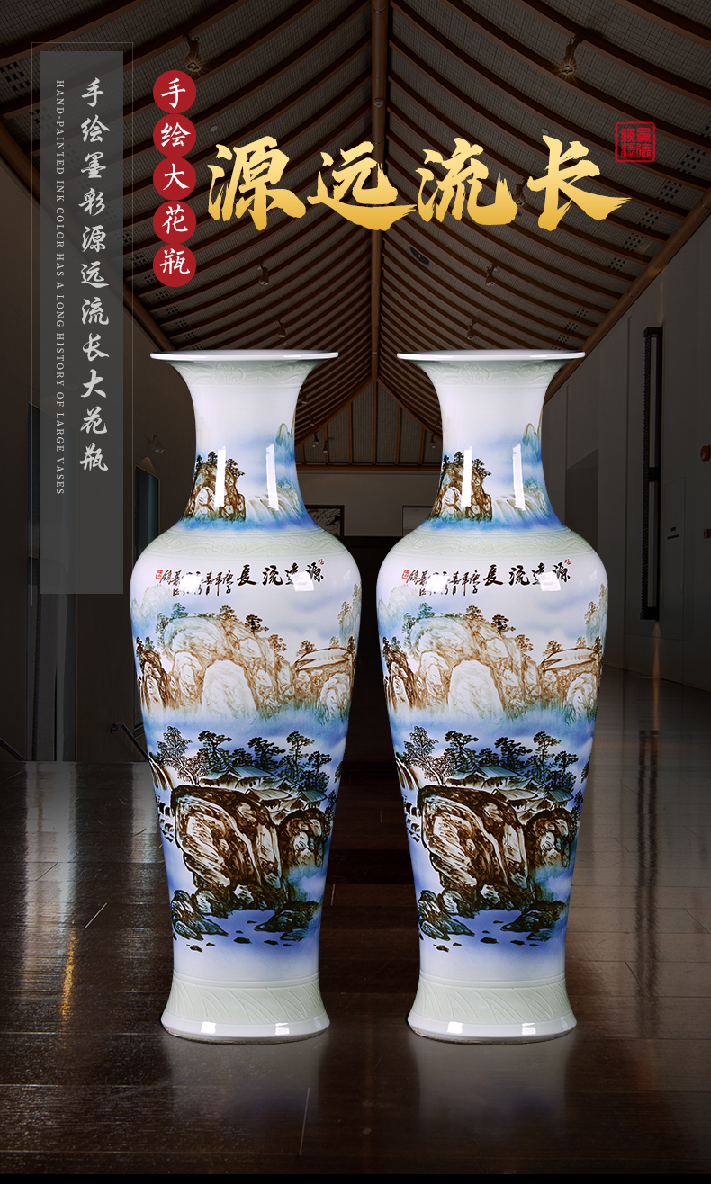 Jingdezhen ceramic vase of large sitting room place, home decoration antique Chinese style opening gifts large catastrophic