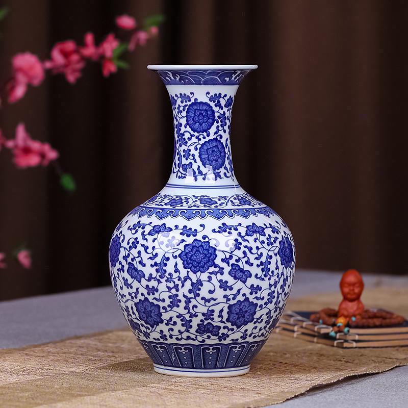 景德镇陶瓷器仿古青花瓷花瓶富贵竹摆件电视柜客厅中式家居装饰品