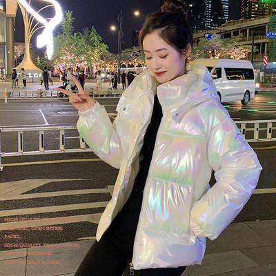 City clover短款羽绒棉服2021新款韩版加厚保暖炫彩亮面免洗棉衣
