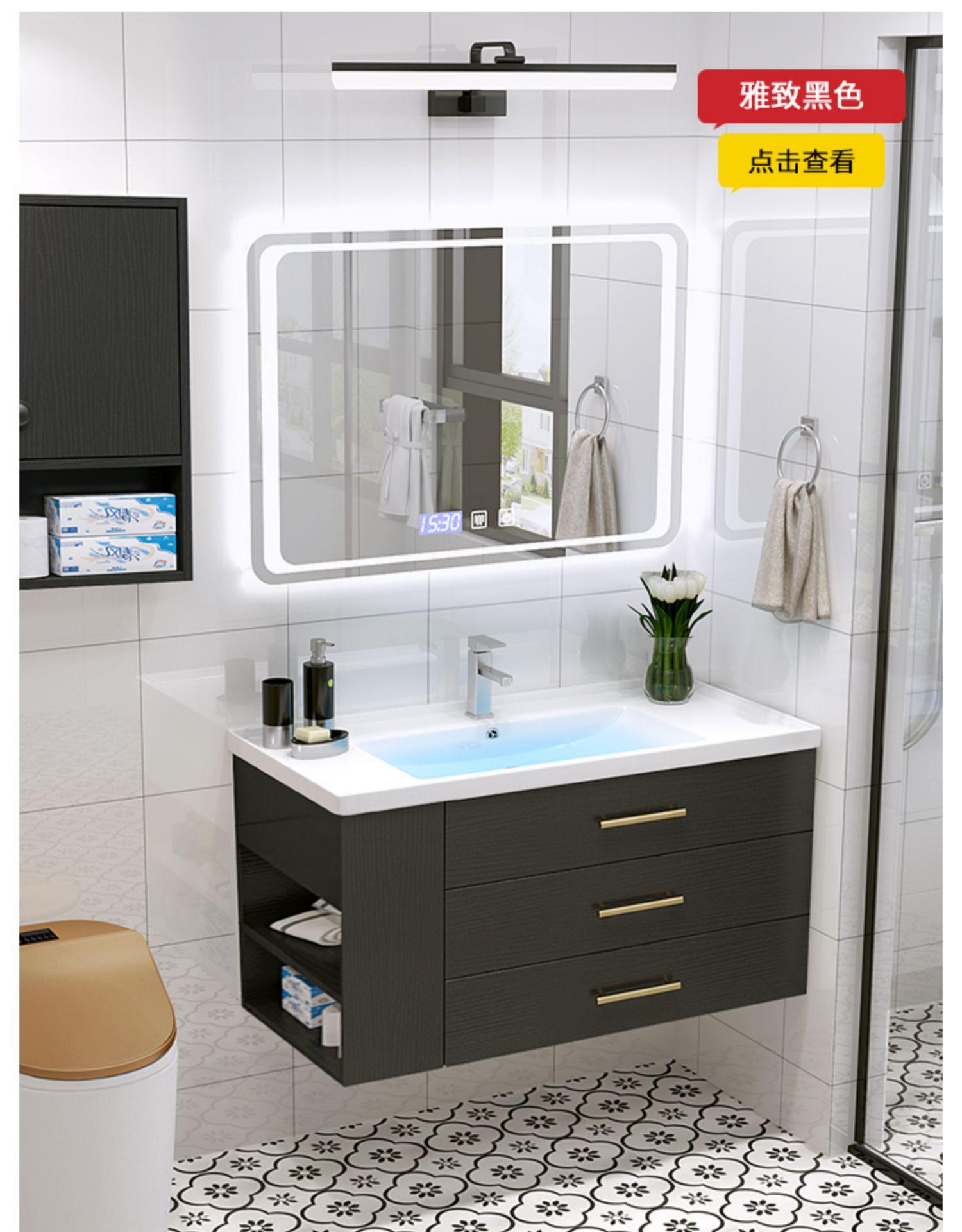 北欧浴室柜现代轻奢洗手檯盆洗脸盆柜组合化妆室洗漱桌镜柜面盆柜详细照片