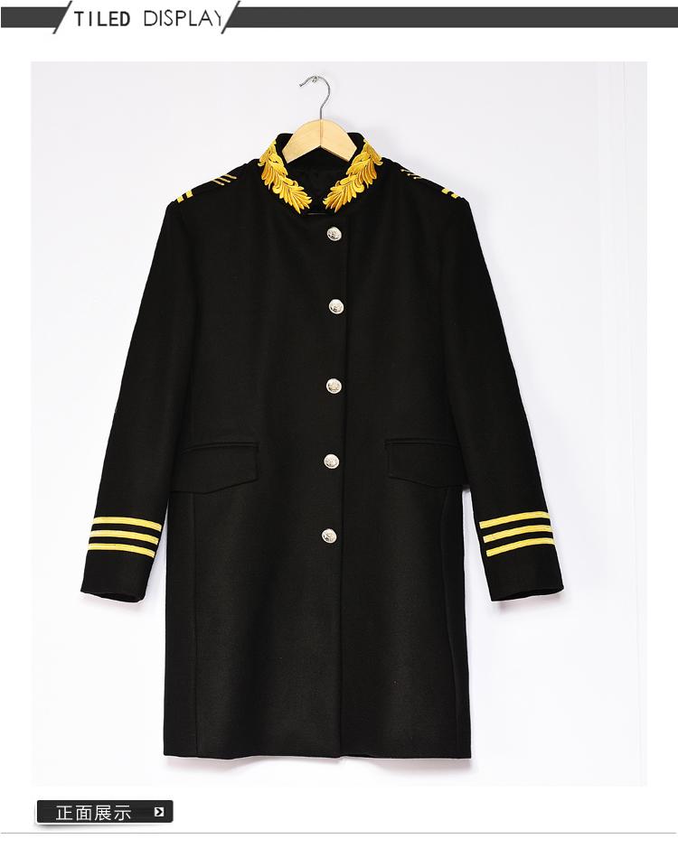 Thủy triều của nam giới áo gió thời trang giản dị lãnh chúa thêu đứng cổ áo len coat với cùng một phong cách cloak coat xz7001