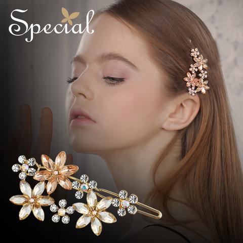 Special欧美古典花朵发夹边夹顶夹发饰防滑刘海夹一字夹慕名少女