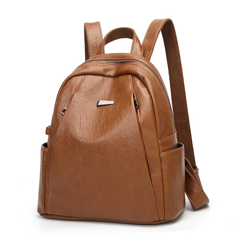 欧比时羊纹双肩包女士韩版2018新款潮时尚休闲软皮旅行背包书包