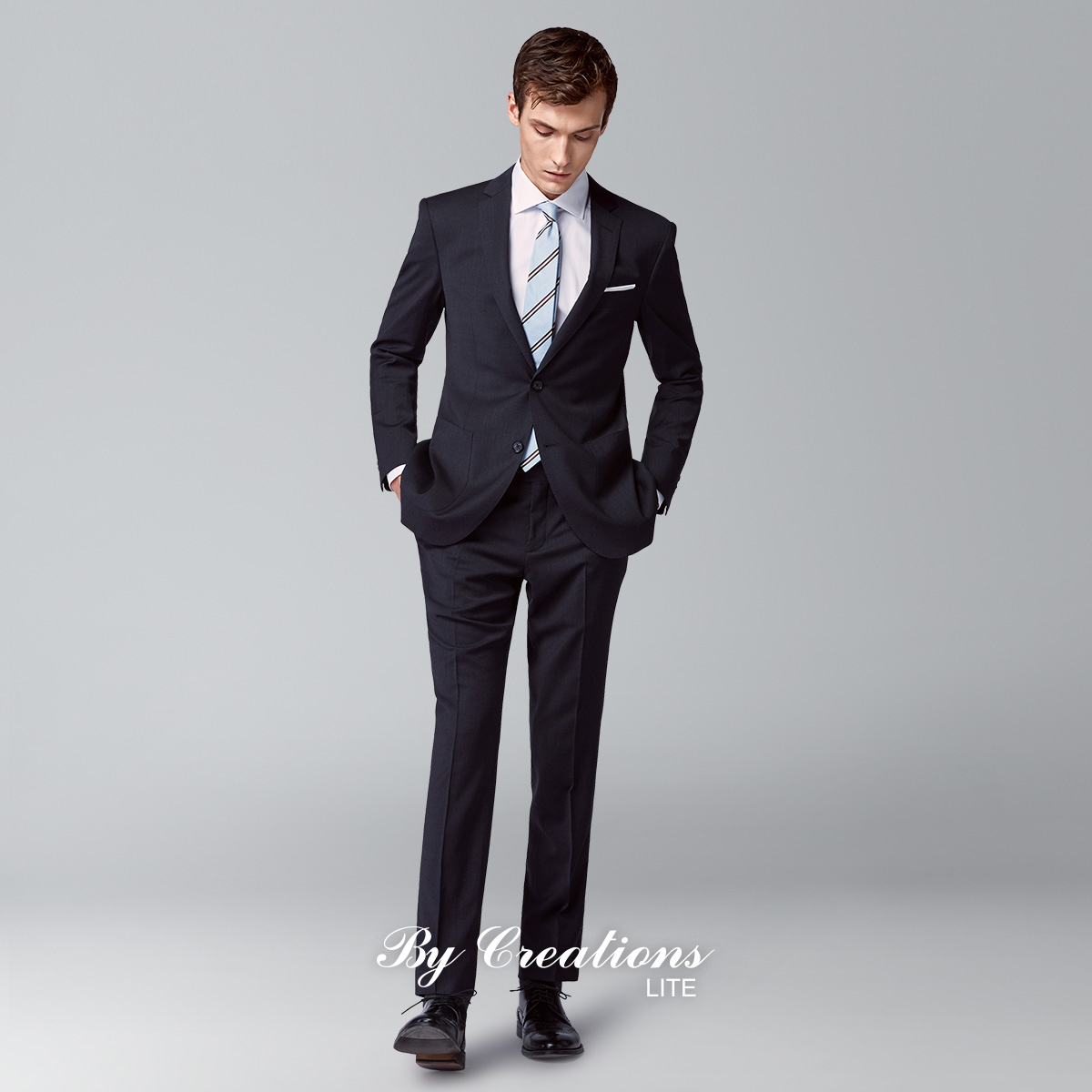 柏品Lite 意大利Reda羊毛面料抗皺男士修身商務西裝職業西服套裝