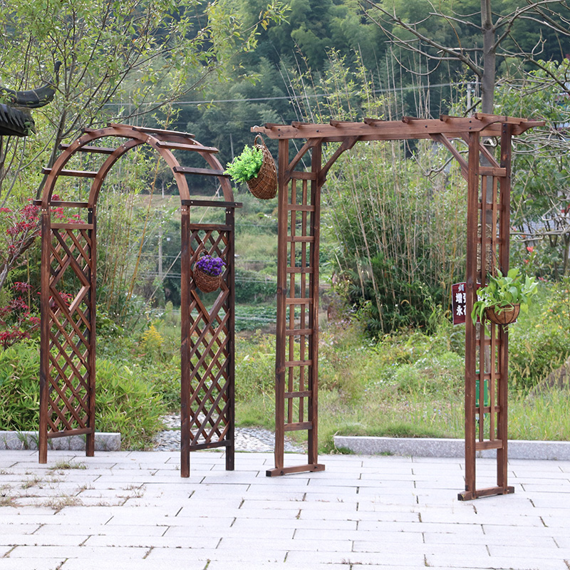 Outdoor Patio Carbide Anti Corrosion Solid Wood Arch Garden Gate Vine  Semi Grid Of Arched Vines Showy