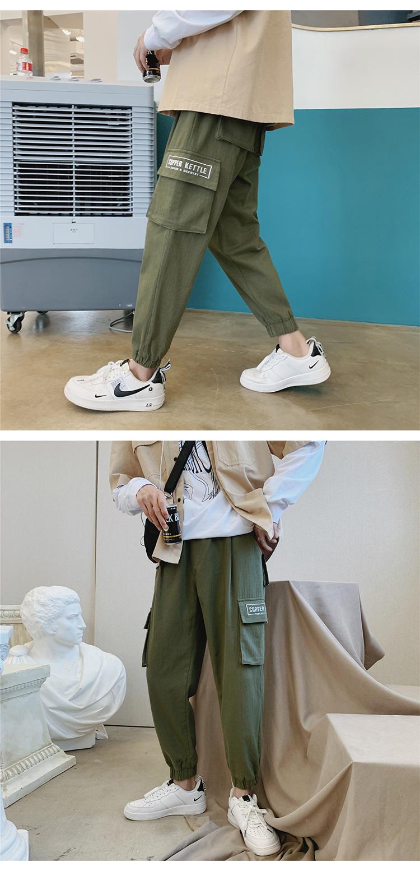 K1060/P50秋装新款人字纹刺绣束脚工装裤韩版大码水洗休闲裤子男