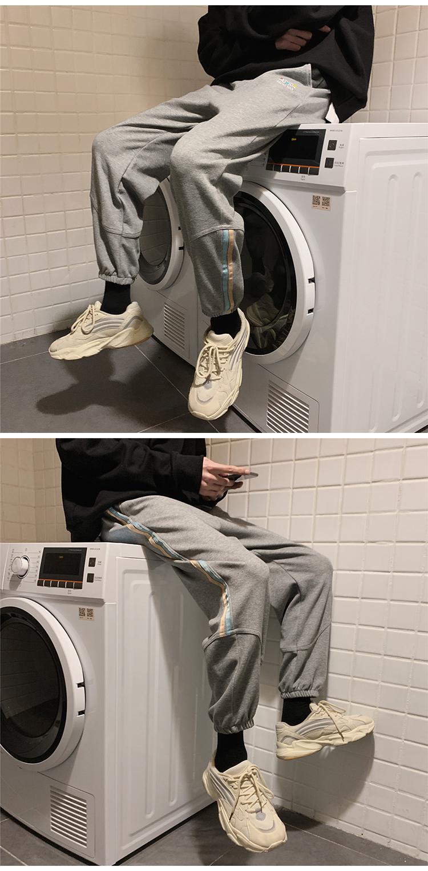 K2002/P50春装新款全棉运动裤彩色刺绣卫裤休闲裤男士大码哈伦裤
