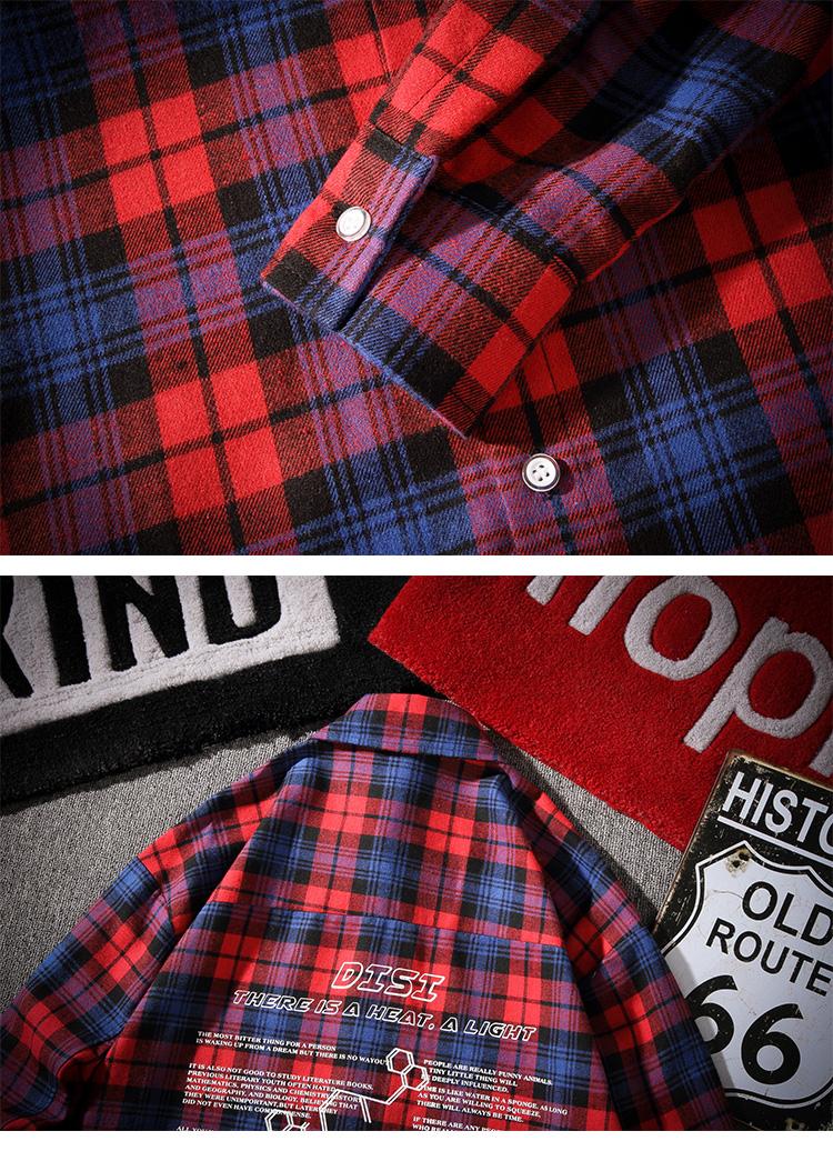 C1076/P45秋装格子印花长袖衬衣男士休闲韩版宽松潮大码衬衫外套