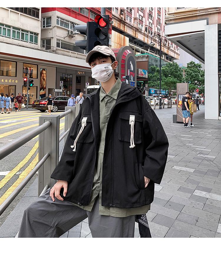 2020春装新款 纯色韩版宽松夹克男士连帽外套 M127/P88 控价108