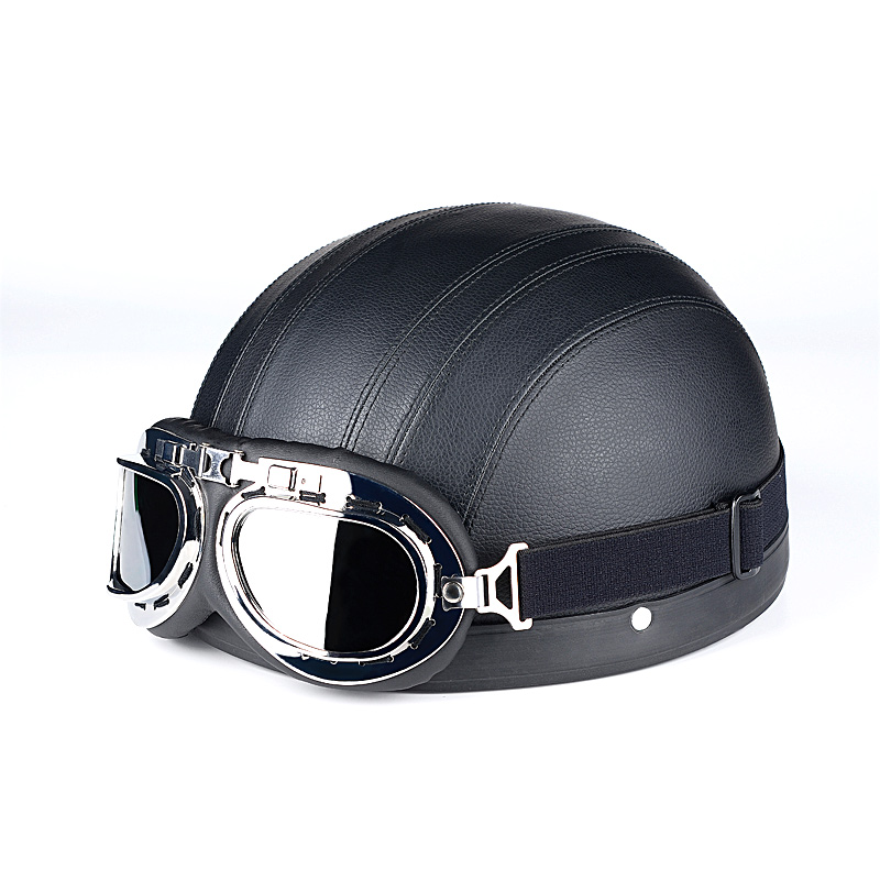 Korean leather retro Harley helmet half helmet electric motorcycle helmet street fashion helmet processing