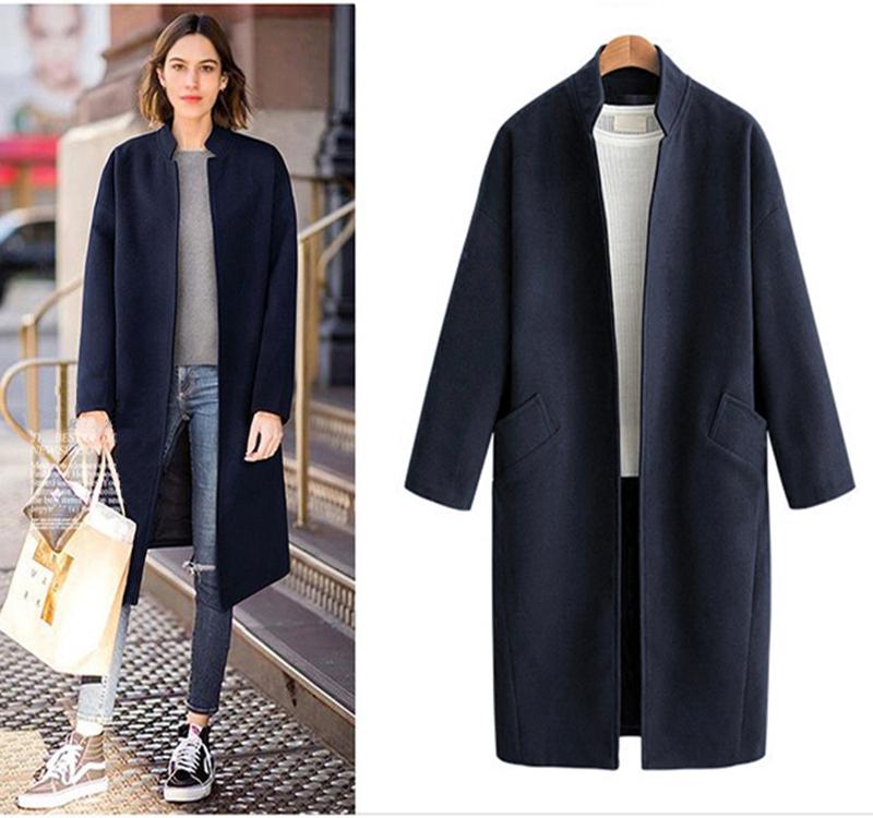 新款大衣立领女2018秋冬季韩版呢子中长款宽松无扣大码毛呢外套女