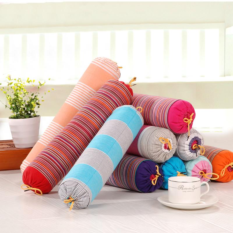 頸椎枕頸椎專用枕蕎麥殼枕芯純棉老粗布糖果枕頭圓柱枕