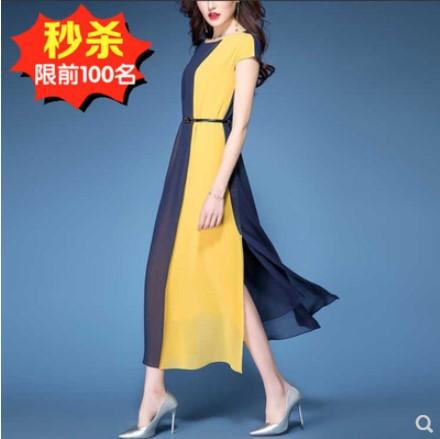 2019夏季新款连衣裙女阔太太胖女人遮肚大码长裙显瘦高贵雪纺裙子