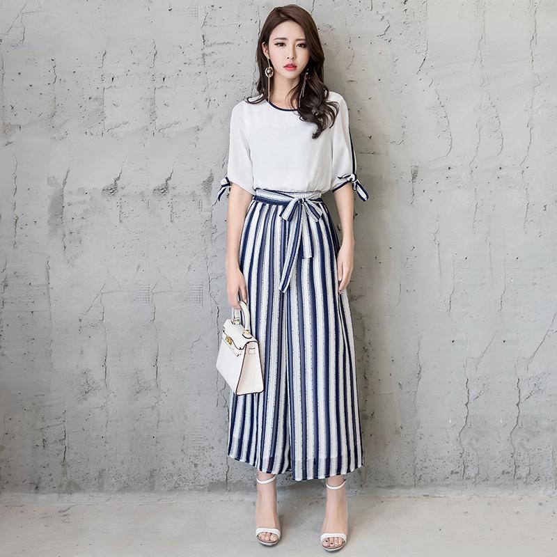 垂感阔腿裤套装女2018夏装新款时尚韩版雪纺上衣休闲两件套女潮
