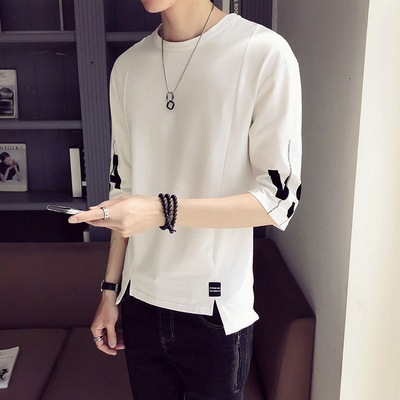 45f43091bf5 Summer men s short-sleeved T-shirt Korean version of the loose 5 five-point sleeves  summer 7 seven-point sleeves personalized clothes Tide Boys hip-hop