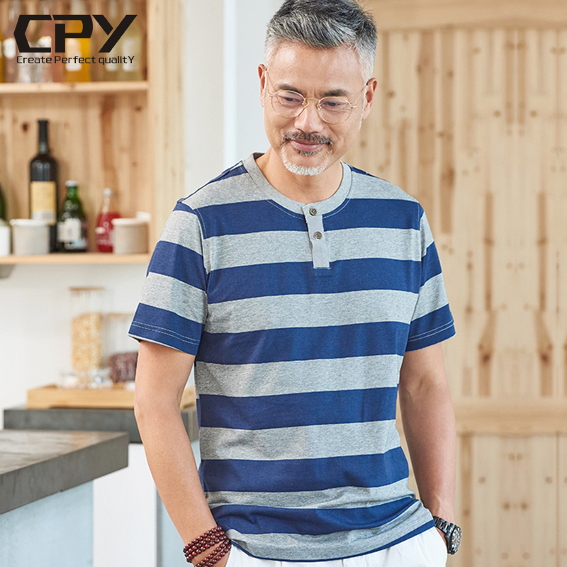 323ac095e22 Middle-aged men s short-sleeved T-shirt 35-40 years old father summer 50-60  thin stripes in the elderly cotton T-shirt male