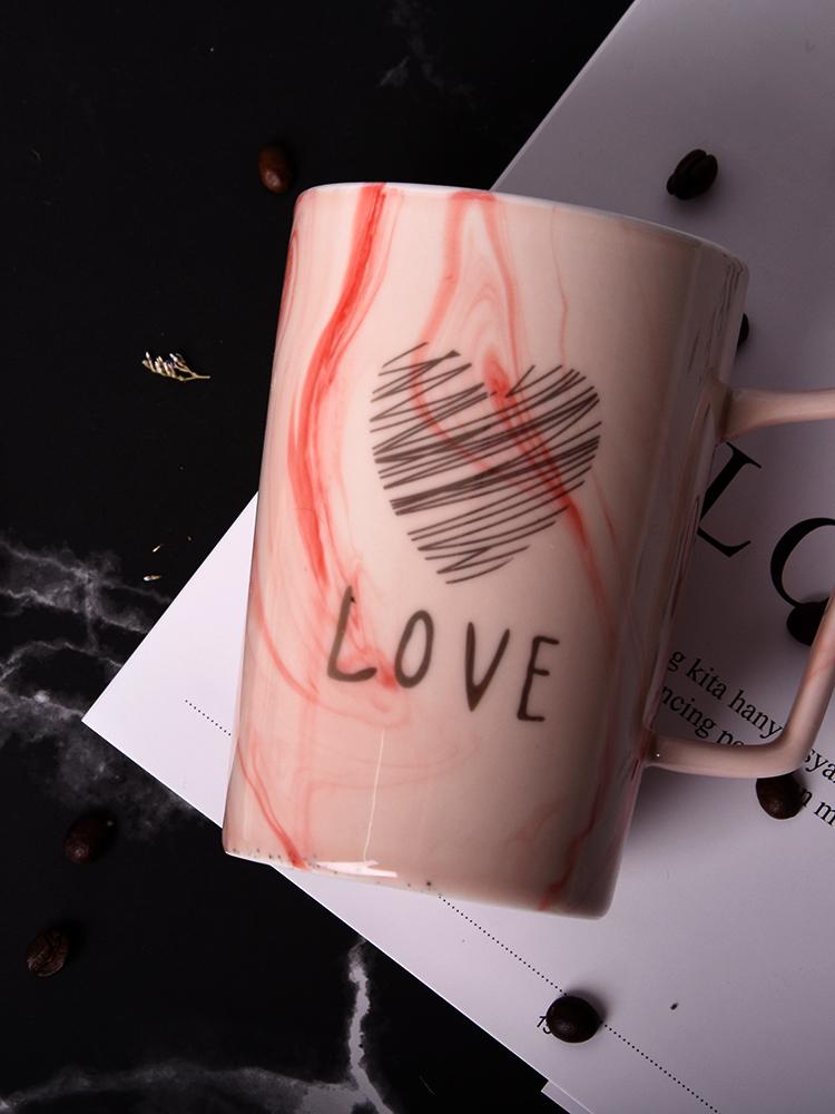 马克杯带盖勺创意陶瓷杯子简约ins女韩版咖啡杯 家用情侣水杯一对