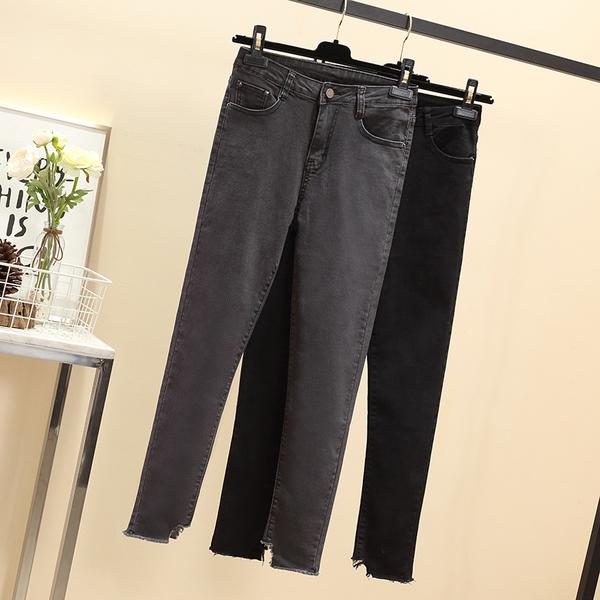 TS1089#春季大码女装胖妹妹适合腿粗牛仔长裤女新款显瘦小脚裤女