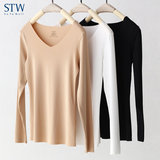 STW no trace warm underwear female modal autumn clothing low-class repair long-sleeved warm clothing in the bottom of the clothes winter Y
