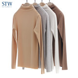STW ladies half high neck thermal underwear modal seamless bottoming autumn clothes warm top bottoming shirt autumn and winter Y