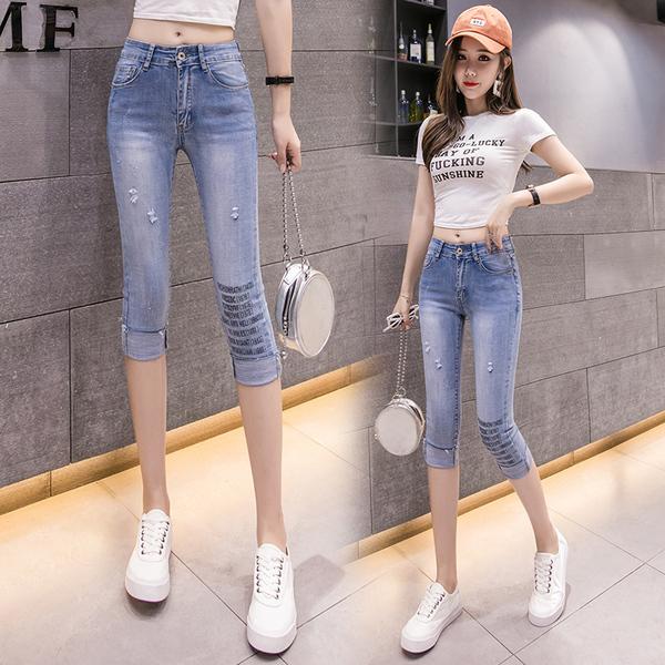 TS17808#修身牛仔裤女夏季薄款直筒宽松七分高腰显瘦新款潮小个子