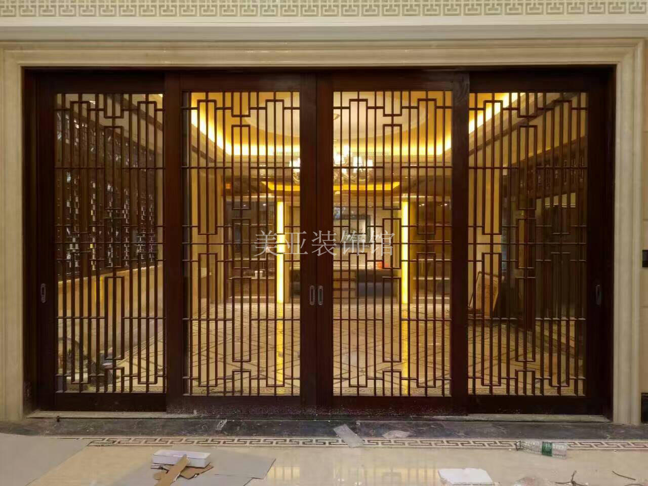 Usd 25768 Chinese Flower Hollow Porch Sliding Door Partition Solid