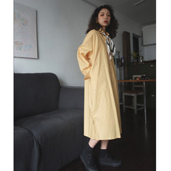 Homemade Morandi Creamy Yellow Hong Kong Flavor A-line Art Long Loose Lazy Shirt Mid-length Dress