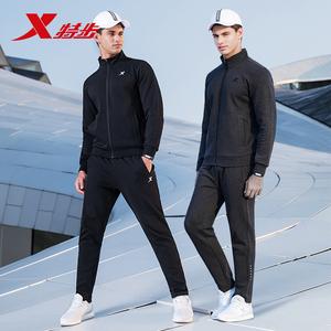 特步運動套裝男簡約休閑運動服兩件套2020春季跑步套裝男衛衣衛褲