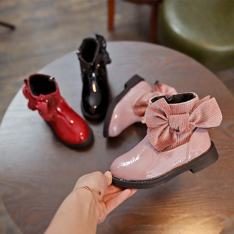 2018秋季新款韩版女童靴子公主鞋儿童雪地靴短靴蝴蝶结皮靴棉靴潮