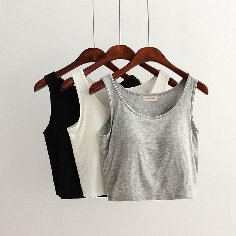 打底文胸吊带女莫代尔带胸垫露脐免穿瑜伽背心一体短款抹胸裹胸