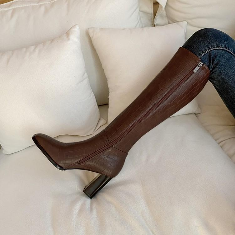 High boots not over the knee show thin thick heel square head bamboo stripes chivalry small stone high waist boots
