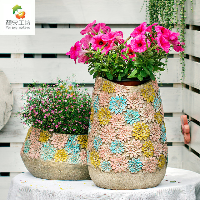 Outdoor garden decoration hand-painted creative retro tall flower jar flower pot home balcony courtyard layout gardening ornaments