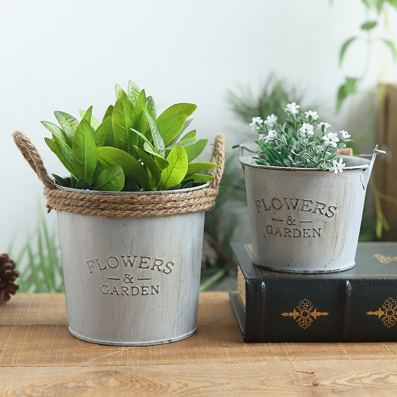 Factory direct American country vintage made old tin flower barrel flower creative home desktop flower insert decoration