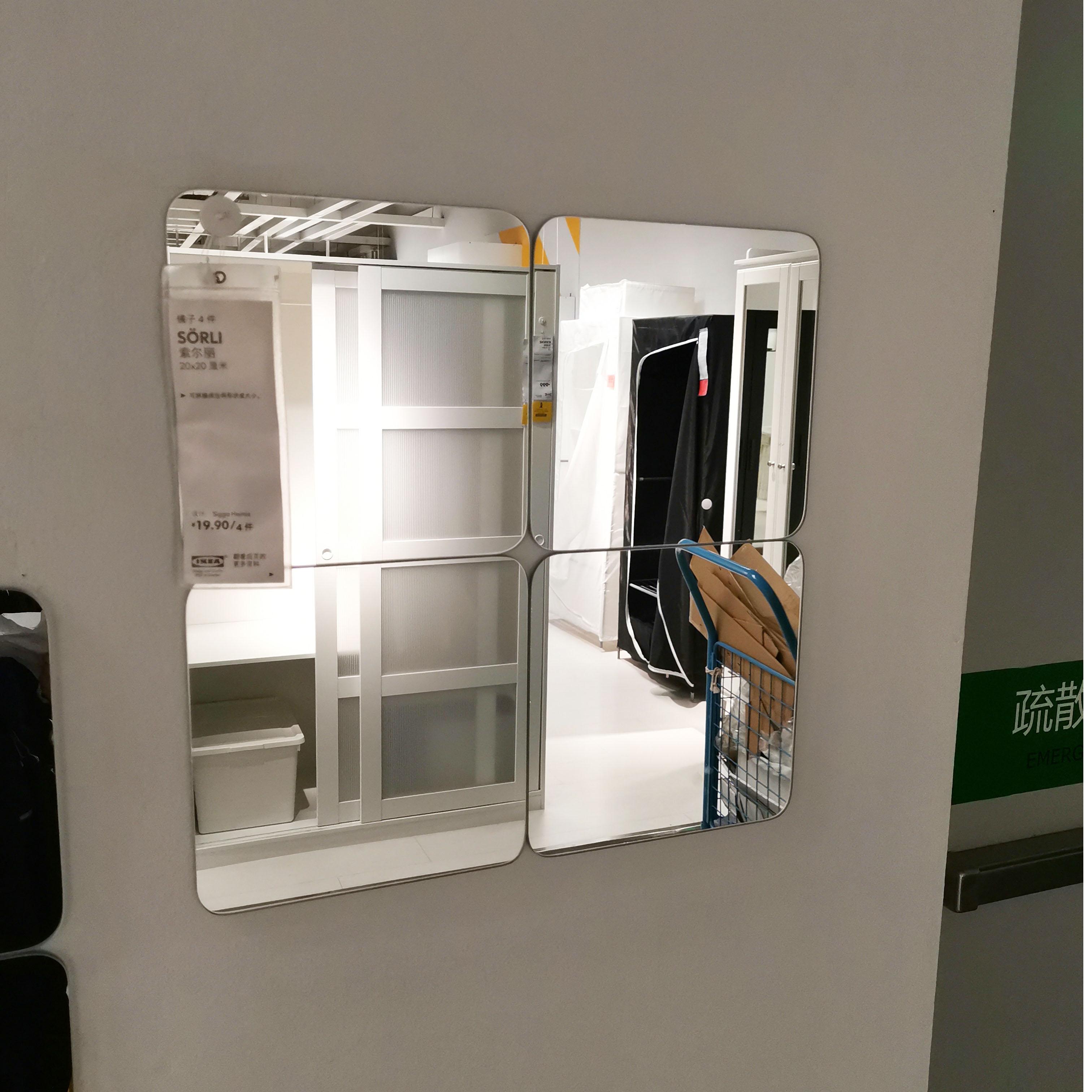 IKEA Solli trang trí gương trang trí tường gương miễn phí với hai mặt dính phòng tắm phòng ngủ khâu trong nước - Gương