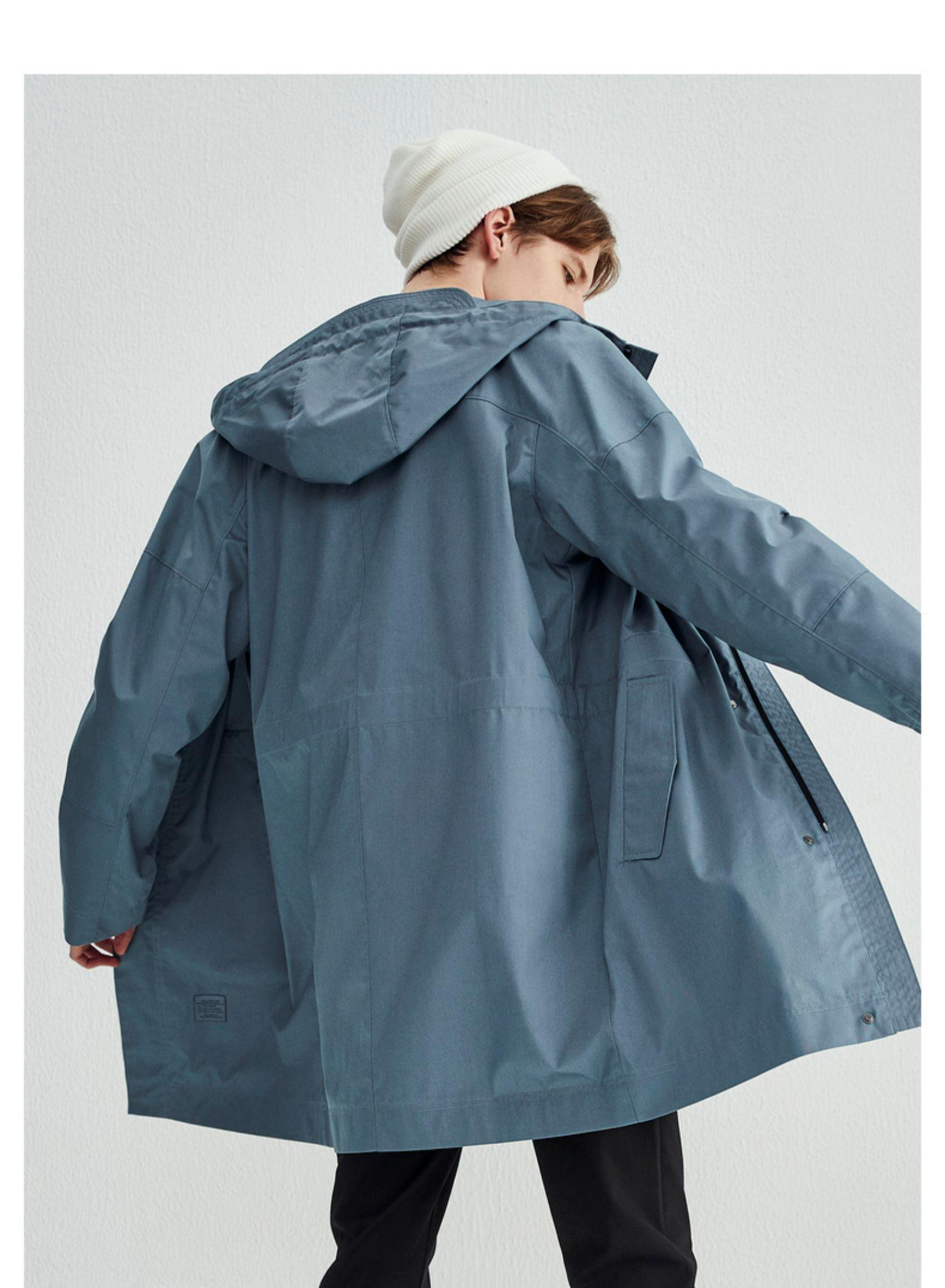 马克华菲风衣男秋季新款黑色宽松潮流连帽同款外套休闲韩版商品详情图
