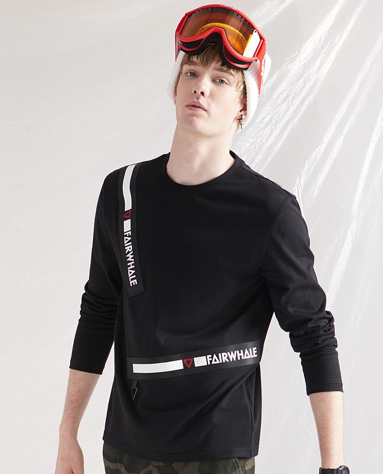 Mark Huafei dài tay T-Shirt nam mùa thu mới sọc letter in ấn ribbon phần thủy triều giản dị vòng cổ triều áo sơ mi shirt versace