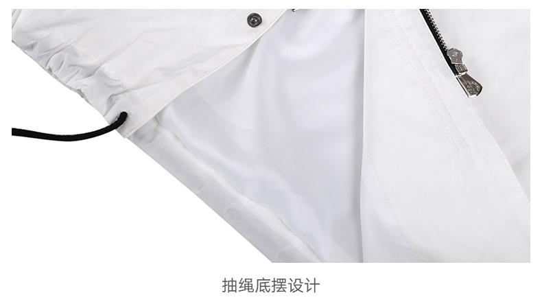 Mark Huafei trong phần dài của người đàn ông áo gió 2017 mùa xuân và mùa thu mô hình đơn giản màu trắng tinh khiết có thể tháo rời cap loose jacket