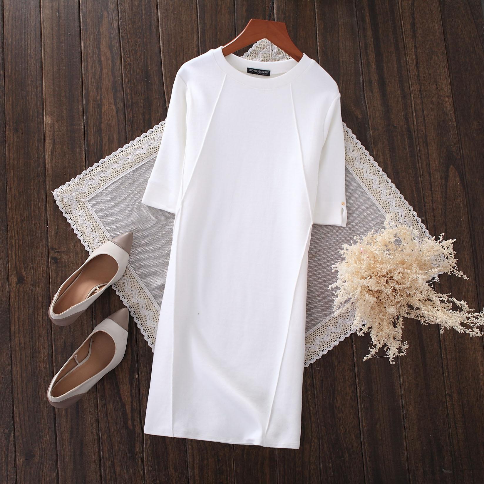 2019秋冬中长款半袖t恤女菱形修身显瘦白色大码短袖打底衫t恤裙