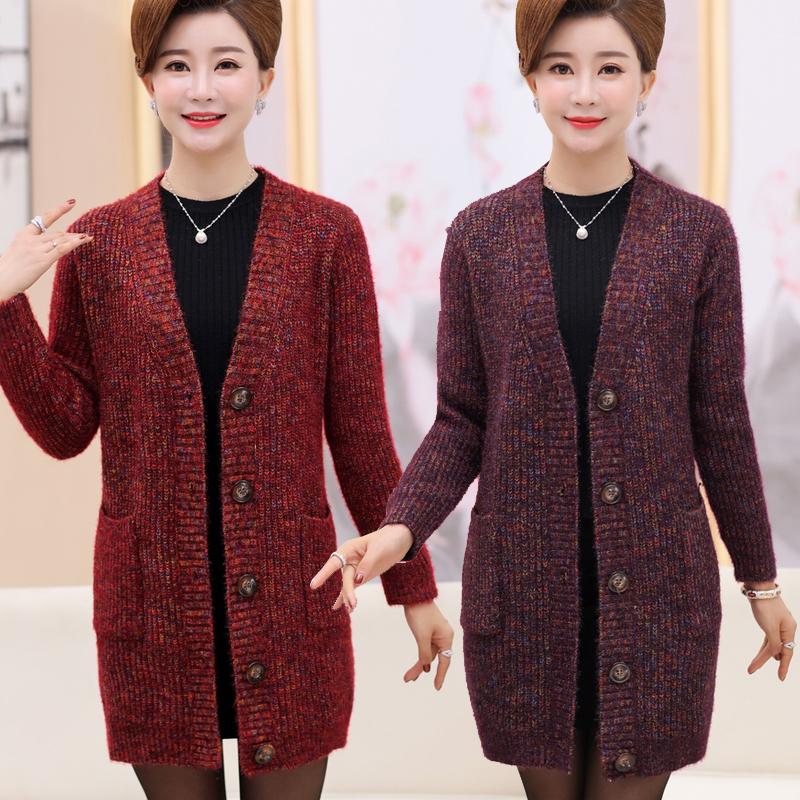 年轻妈妈装春秋装中长款羊绒大衣中老年女装大码毛衣开衫针织外套
