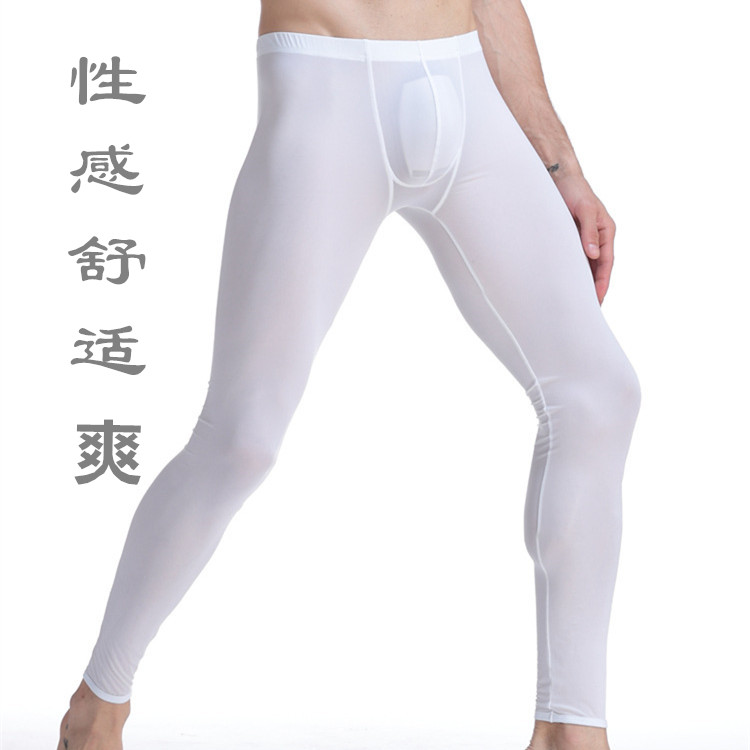 Elastic ultra-thin semi-transparent ice wire leggings Men's autumn pants slim sexy U-bump home pants trousers.