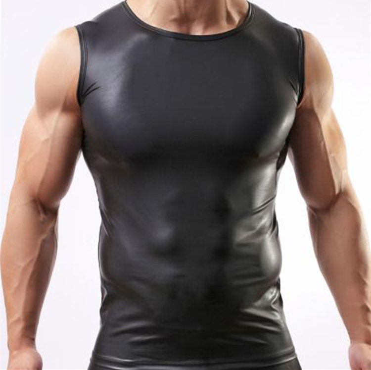Clearance leather vest male black vest PU Fitness Sports summer thin sexy tight sweat vest nightclub sleeveless