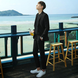 Suit suit men's Korean Trend leisure handsome business formal fit black British style student suit