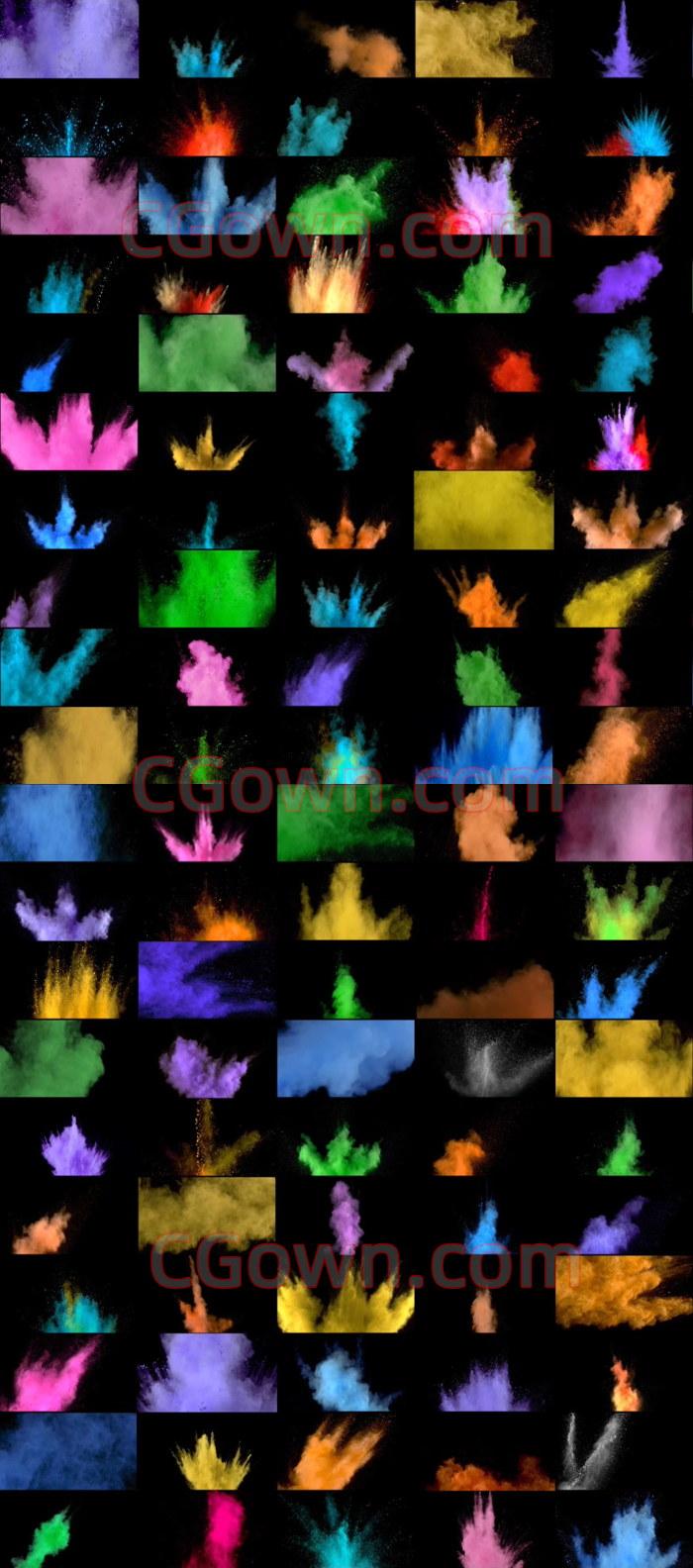 4K视频素材130种色彩缤纷粉末爆炸喷射带Alpha遮罩89GB大