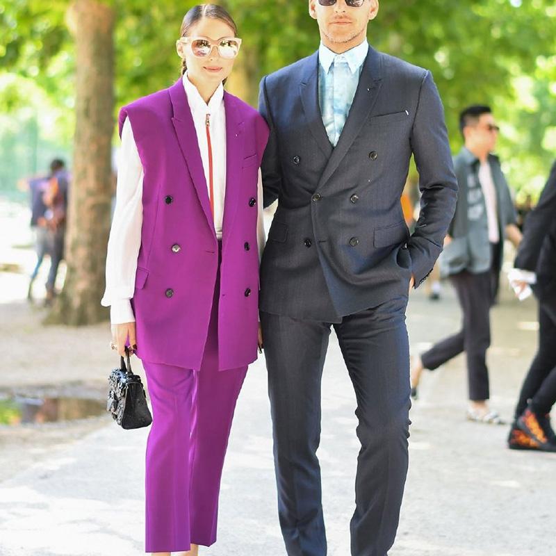 欧洲站OliviaPalermo套装同款无袖修身西装紫红色明星马甲女潮
