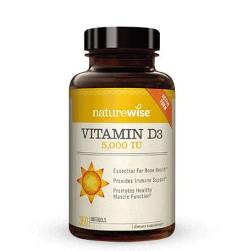 Naturewise 2瓶裝美國進口成人維生素D3軟膠囊5000iu補鈣vitamin